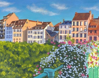 Strasbourg Germany Architecture Giclee Reproduction 9 x 12