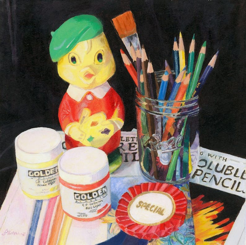 Art colored pencils vintage toy still life colorful Giclee image 0