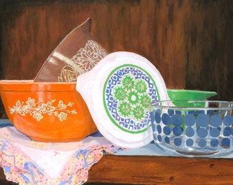 Vintage Pyrex still life colorful glassware Giclee Reproduction 9 x 12