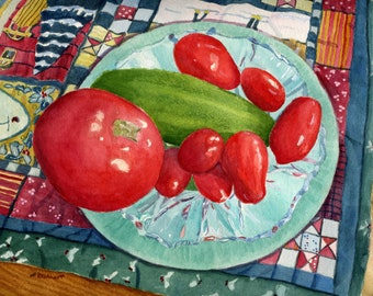 Winter Tomato glass still life holiday Giclee Reproduction 9 x 12