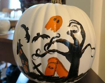 Halloween painted white pumpkin plastic sealed