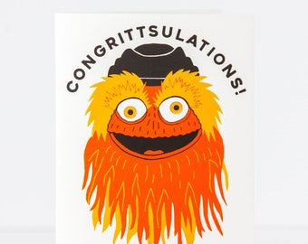 Gritty mascot, Flyers fan, funny Philly greeting card, Philly congratulations card