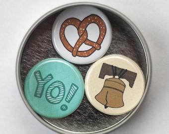 philadelphia magnet set, Philly pretzel, liberty bell