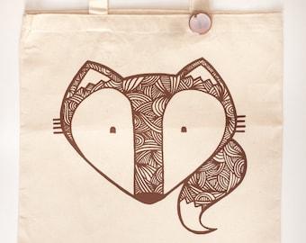 fox tote bag, fox art