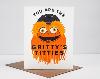 Gritty mascot, Flyers fan, Philadelphia sports, funny Philly greeting card
