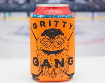 Gritty Gang drink coolie, Philadelphia hockey fan, Gritty mascot, Philadelphia gift
