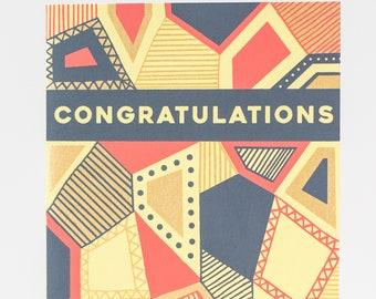 Congratulations card, geometric pattern card, blank congrats card