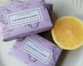 Lavender and Lemon Essential Oil goat milk soap, gift for her, gift for him, wedding favor, shaving soap, gift for mom, under 10. Florida