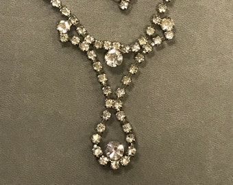 Vintage Rhinestone Drop Necklace Bridal Prom Special Occasion