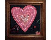 Mini Art Quilt, Framed Heart Quilt, Valentine, Love