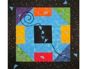 Colorful Abstract Art Quilt, Fabric Wall Hanging, Fiber Art, Traditional Churn Dash Block, Monkey Tail