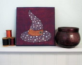 Small Halloween Art Quilt, Fabric Wall Hanging, Witch Fiber Art