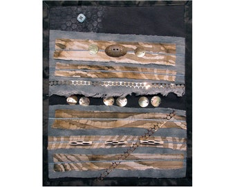 Small Abstract Art Quilt, Earth Toned Quilted Wall Hanging, Gray and Brown Fiber Art