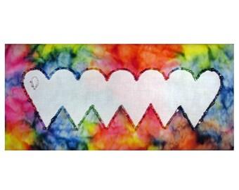 Small Art Quilt, Rainbow Hearts Fiber Art