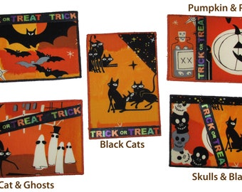 Halloween Quilted Postcards, Vintage Fabric Postcards