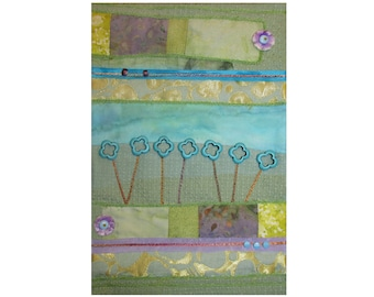 Small Abstract Garden Art Quilt, Crazy Quilt Wall Hanging, Floral Fiber Art in green, blue, and purple