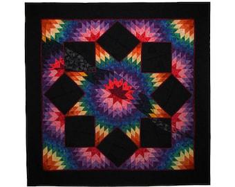 Large Art Quilt, Fabric Wall Hanging, Fiber Art, Rainbow Broken Star, Traditional Design, Non Traditional Technique, Award Winner