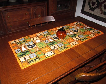 Long Handmade Halloween Quilted Table Runner