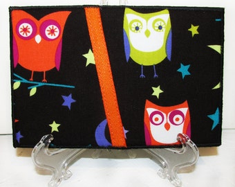 Quilted Postcard, Fabric Postcard, Mini Art Quilt, Night Owls