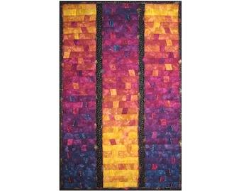 Large Abstract Art Quilt, Fabric Wall Hanging, Fiber Art, Sunrise or Sunset Celebration