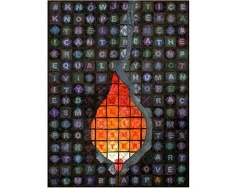 Large Art Quilt, Fabric Wall Hanging, Fiber Art, Protest Art, BLM Art, Be a Spark