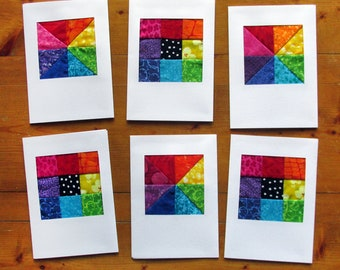 Rainbow Note Cards, Fabric Blank Cards, Stationary, Any Occasion Cards, Greeting Cards, Quilt Cards