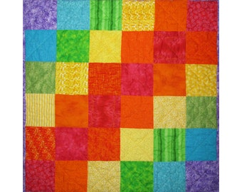 Rainbow Baby Quilt, Nursery Bedding, Handmade Toddler Blanket, Shower Gift