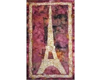 Small Eiffel Tower Art Quilt, French Fabric Wall Hanging, Paris Fiber Art, Pink Sunrise Sunset