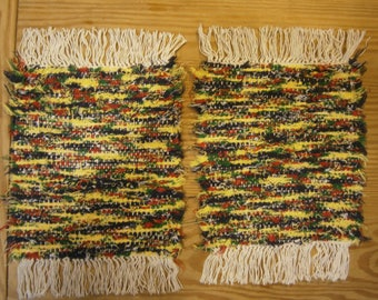 2 Multicolored Handwoven Afghan Selvage Placemats in Yellow, Blue, and Green