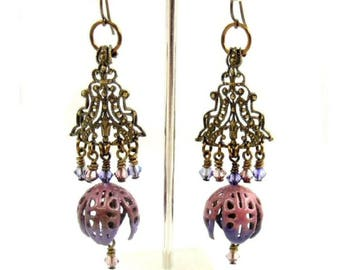 Vintage Look Chandelier Earrings, Pink and Purple Bohemian Jewelry with Swarovski Crystals