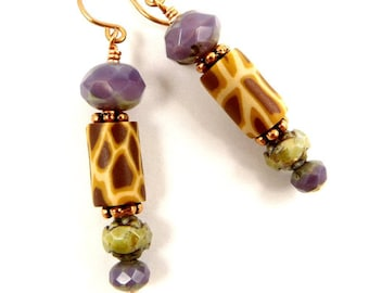 April the Giraffe Purple Earrings Everyday Earrings Dangle Earrings Drop Earrings Animal Jewelry Gift for Her Animal Lover Gift Giraffe