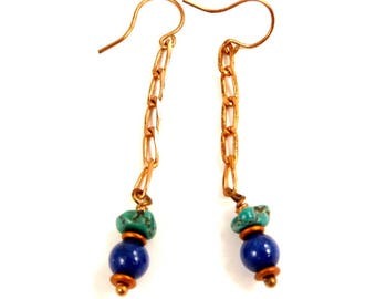 Lapis Lazuli Long Dangle Earrings, Southwestern Style Gemstone Jewelry