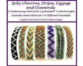 2 hole Czechmates Triangle Beads Beadweaving Pattern for 16 different Beaded Bracelets