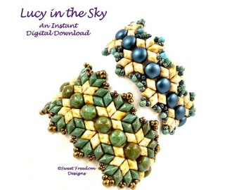 Step by Step Pattern for DiamonDuos, Gemduos and 2 Hole Candy Cabochons, Off Loom Bracelet Instructions