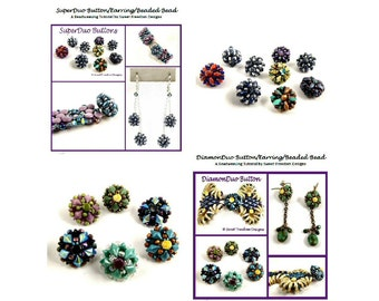Decorative Button or Clasp Tutorials Using DiamonDuo and SuperDuo Beaded Beads