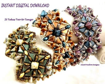 Tango, SuperDuo, and Pyramid Bead Pattern for Bracelets, Earrings, and Pendants