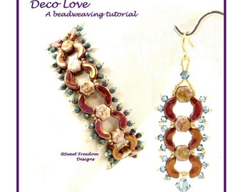 Honeycomb and Arcos Par Puca Crescent Tutorial, Crystal and Seed Bead Bracelet & Dangle Earring Pattern for Intermediate to Advanced Beaders