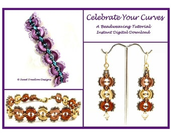 Superduo and Arcos Par Puca Pattern, Earring and Narrow Seed Bead Bracelet Tutorial for Beginner Beaders