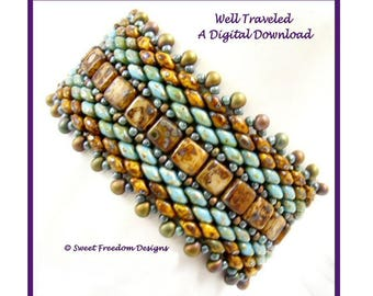 SuperDuo Pattern for Beaded Bracelet, Czech 2 Hole Tile Beadweaving Tutorial
