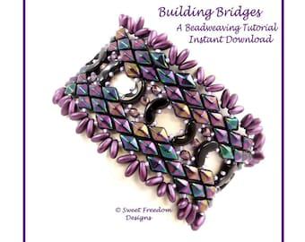 Arcos Par Puca Beadweaving Pattern, Gemduo design, Rizo Beaded Bracelet, Intermediate to Advanced Tutorial