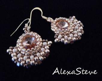 Vintage Style Earrings, Evening Jewelry, Beaded Earrings, Seed Bead Earrings, Silver Earrings, Crystal Earrings, Bridal Earrings