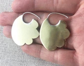 Cloud Earrings in brass