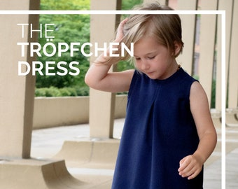 Child Swing Dress PDF Sewing Pattern, The Tröpfchen Dress Sized 6mo to 12y