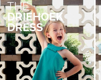 Girl Swing Dress PDF Sewing Pattern, The Driehoek Dress Sized 6mo to 12y