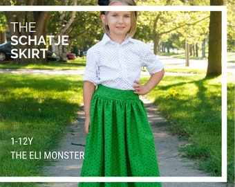7987f37ff Maxi, Midi and Knee Length Skirt Sewing Pattern, The Schatje Skirt, 1Y to  12Y