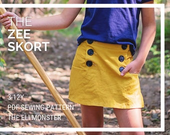Girl Skorts Sewing Pattern, The Zee Skort, Sized 3-12y
