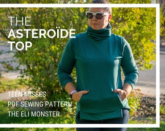 Sweatshirt PDF Sewing Pattern, The Asteroïde Shirt Sized Teen and Adult