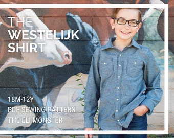 Child Western Shirt PDF Sewing Pattern, The Westelijk Shirt Sized 18m to 12y