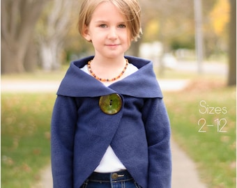 Child Cardigan PDF Sewing Pattern, The Rondje Top Sized 2 to 12