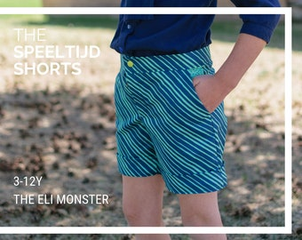Child Shorts Sewing Pattern, The Speeltijd Shorts, Sizes 3-12y